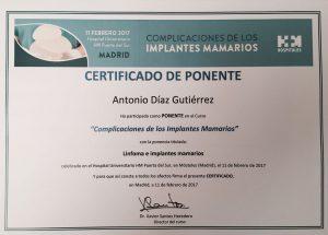 Certificado de la ponencia del Dr. Díaz Gutiérrez